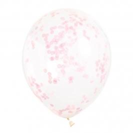 Set de 6 Globos Transparentes con Confeti Rosa Claro