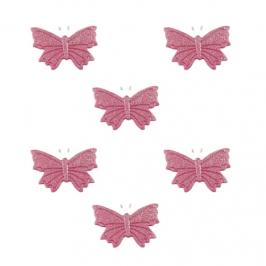Set de 6 mariposas de Azúcar rosa