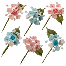 Set de 6 Mini Ramos de Azúcar Rosa y Azul