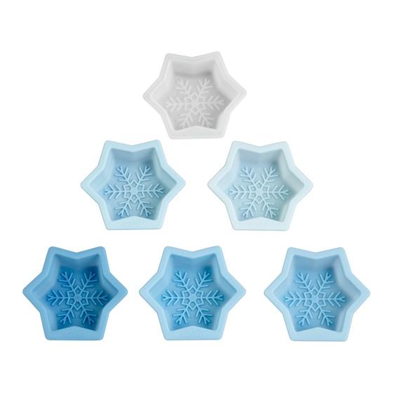 Set de 6 moldes de silicona copos de nieve