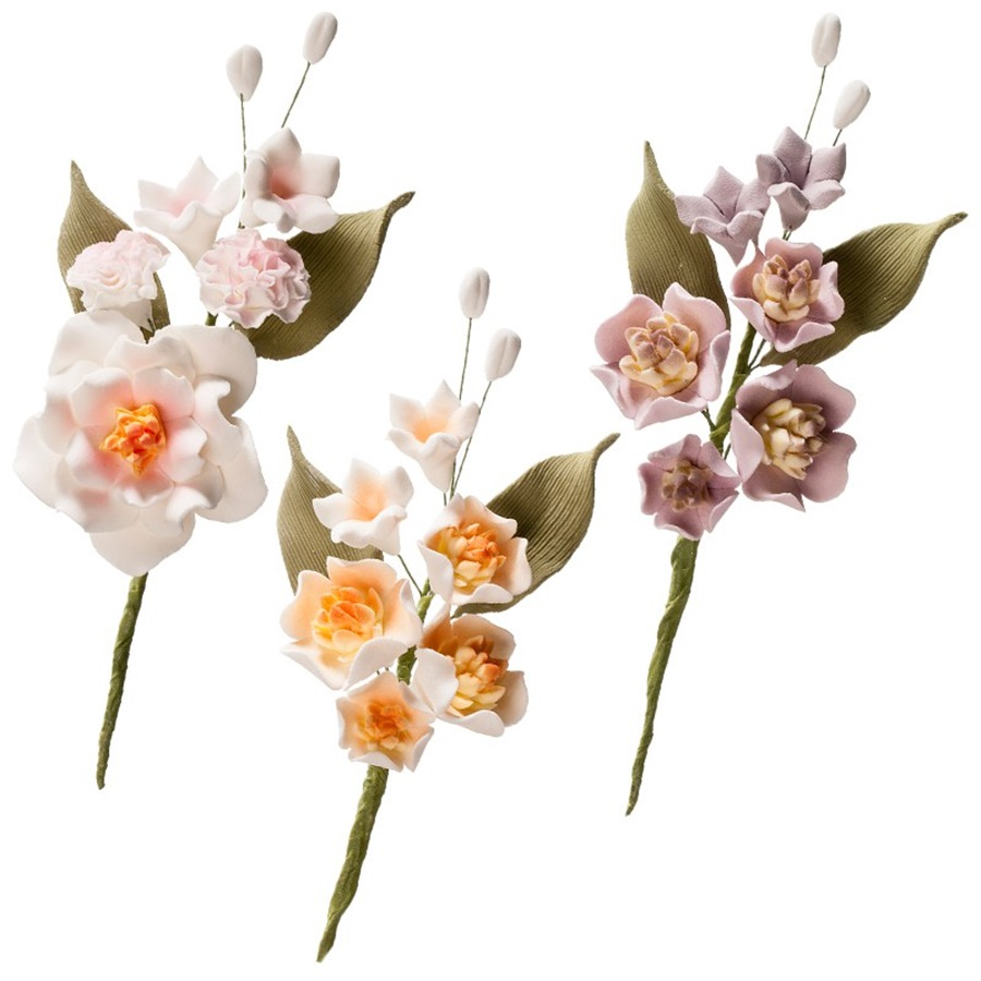 Set De 6 Ramos De Flores De Azucar Magnolia My Karamelli - Fotos-ramos-de-flores