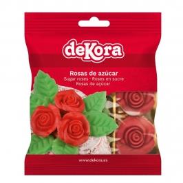 Set de 6 Rosas de Azúcar con Hojas 35 mm