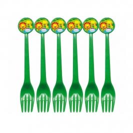 Set de 6 tenedores verdes de plástico de animales de la jungla