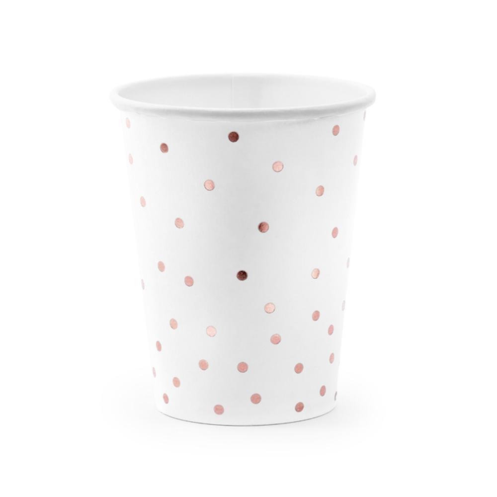 Set de 6 vasos blancos con lunares rose gold de 260 ml