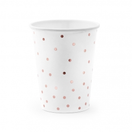 Set de 6 vasos blancos con lunares rose gold de 260 ml