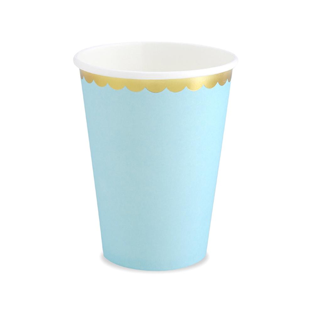 Set de 6 vasos de cartón azul claro de 220 ml