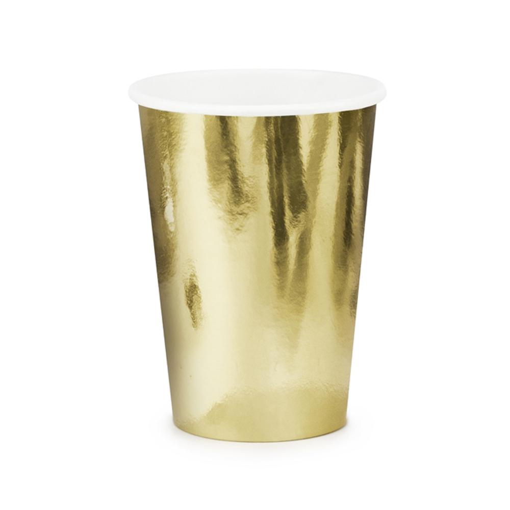 Set de 6 vasos de cartón dorados de 220 ml