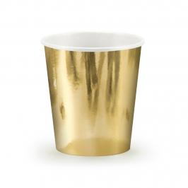 Set de 6 vasos de cartón dorados
