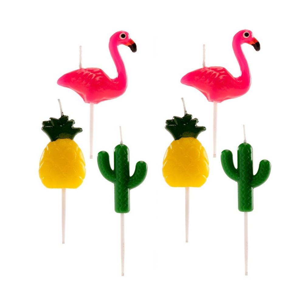 Set de 6 Velas de Cumpleaños Fiesta Tropical