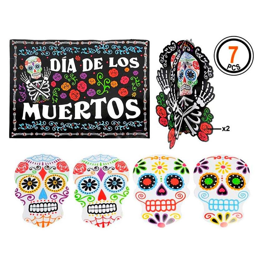 Set de 7 Decoraciones Días de los Muertos
