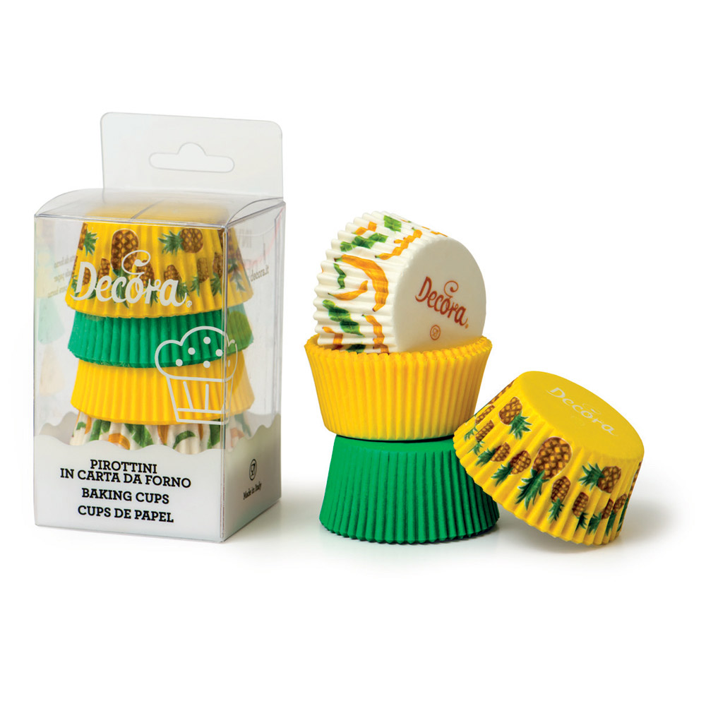 Set de 75 cápsulas para cupcakes con estampados y colores tropicales
