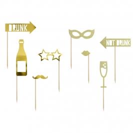 Set de 8 decoraciones de photocall doradas para fiestas