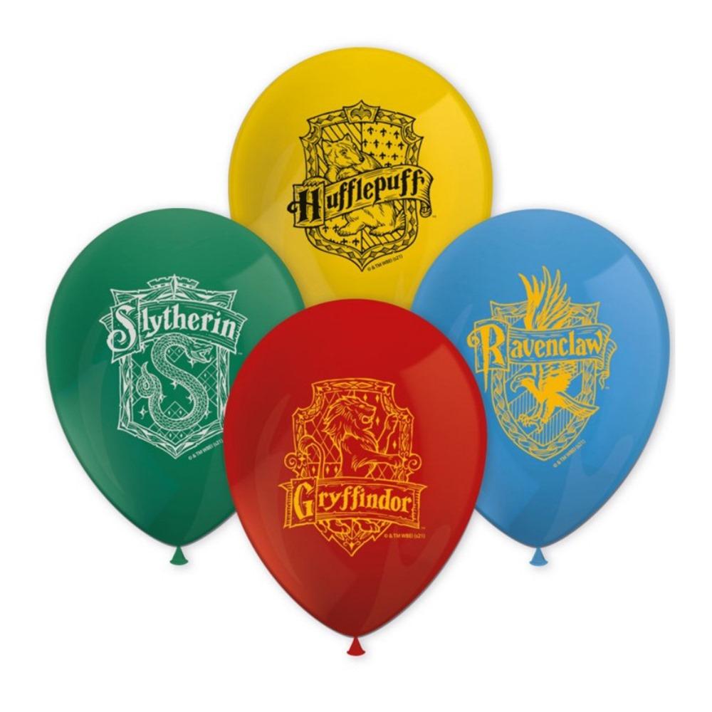 Set de 8 globos de diferentes colores con el escudo de Howgarts de Harry Potter
