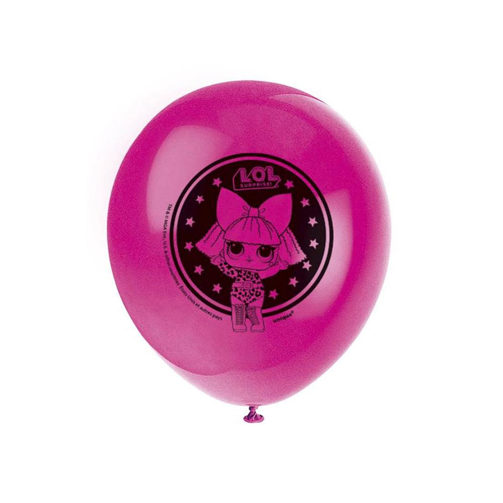 Set de 8 globos de látex de LOL Surprise! en 4 colores
