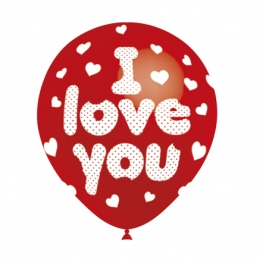 Set de 8 Globos Rojos I Love You