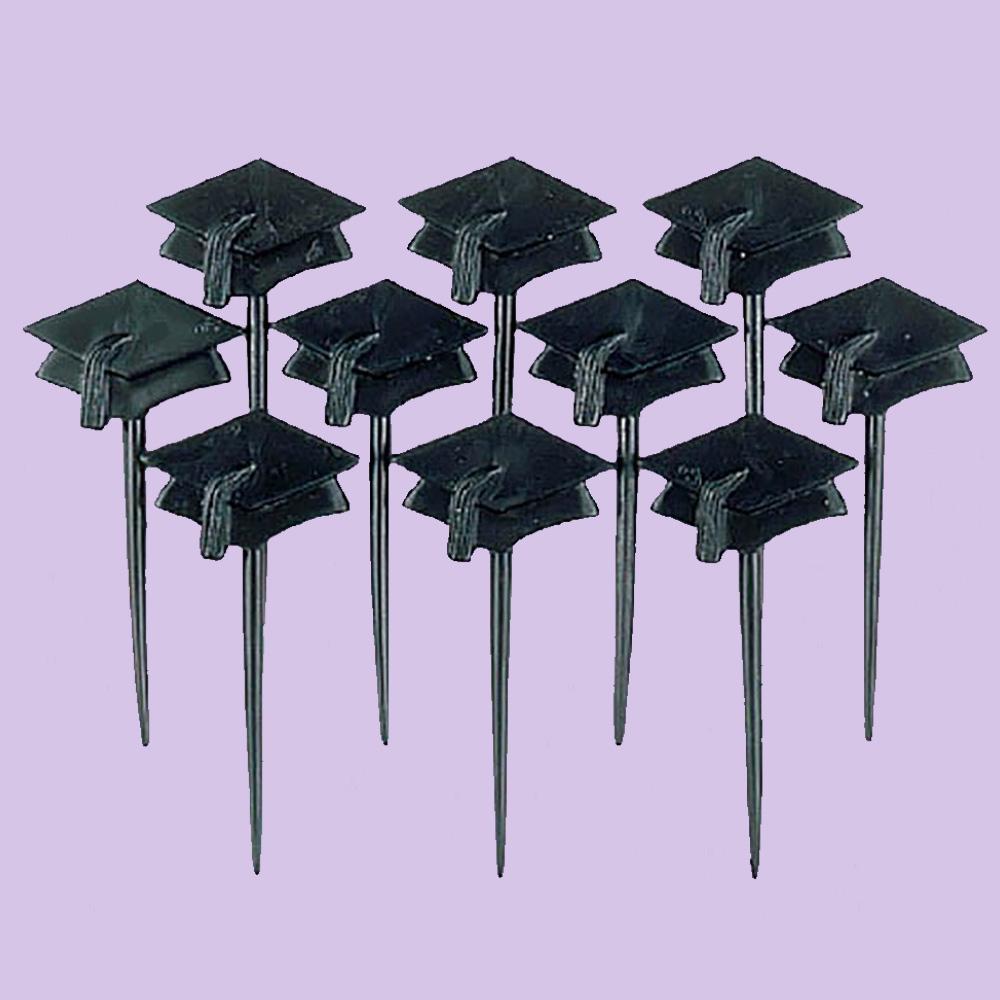 Set de 10 toppers con birrete de graduación
