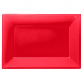Set de 3 Bandejas Rojas 33 cm x 23 cm