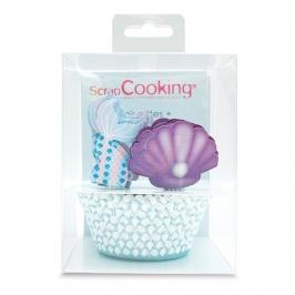 Set para Decoración de Cupcakes Sirena 24 ud