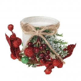 Decoración Navidad Portavela Cristal Blanco