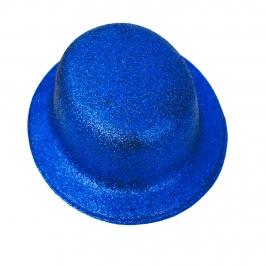 Sombrero Bombín Azul Escarchado 26cm