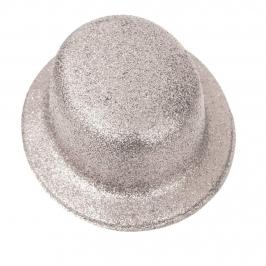 Sombrero Bombín Plata Escarchada 26 cm