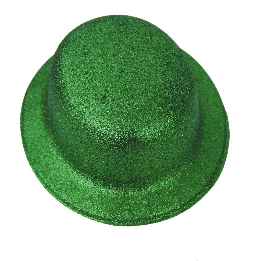 Sombrero Bombín Verde Escarchado 26 cm