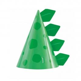 Sombreros de Papel Dinosaurio Azul y Verde 8 ud
