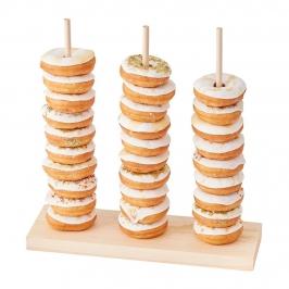 Soporte de madera para donuts de 37 cm de alto