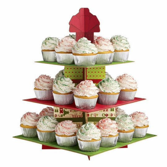 Stand para cupcakes navideño 3 pisos