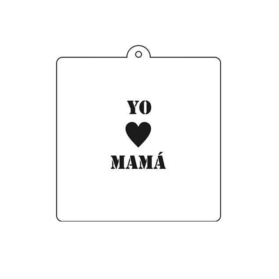Stencil Yo Amo Mamá 6 cm x 5 cm