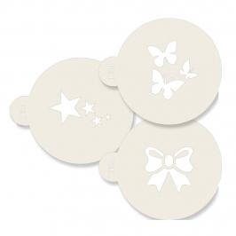 Pack de 3 stencils Estrellas Lazo y Mariposas