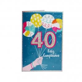 Tarjeta de Felicitación 40 Cumpleaños Modelo B