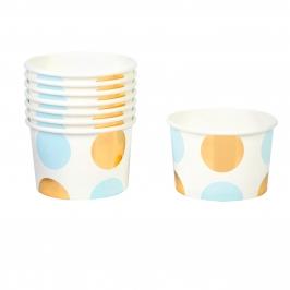 Tarrinas Blancas con Lunares Azules y Dorados