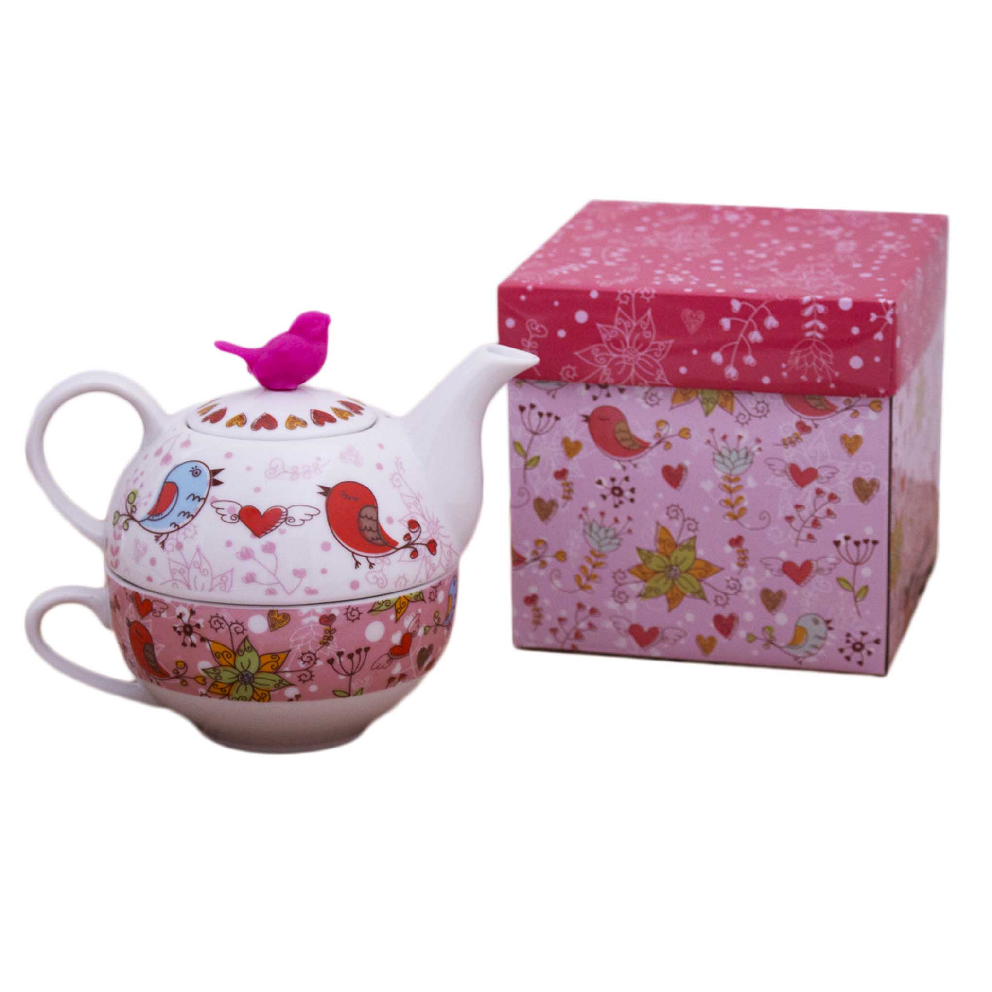 Tetera con taza de porcelana birds in love my karamelli for Tazas porcelana