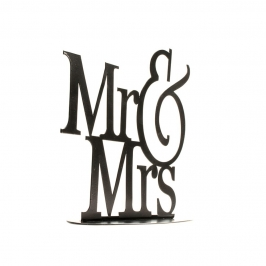 Topper para decorar tartas con el texto Mr & Mrs en negro de 18 cm