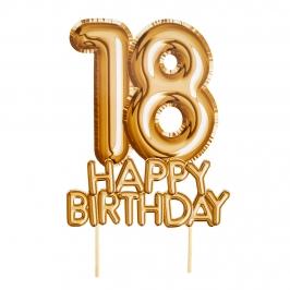 Topper para Tartas 18 Cumpleaños Oro