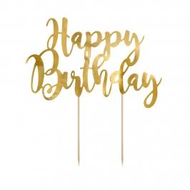 Topper para Tartas Happy Birthday Dorado 22 cm