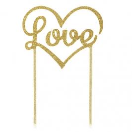 Topper para tartas Love dorado