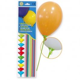 Varillas para Globos con Soporte de colores 12 unidades