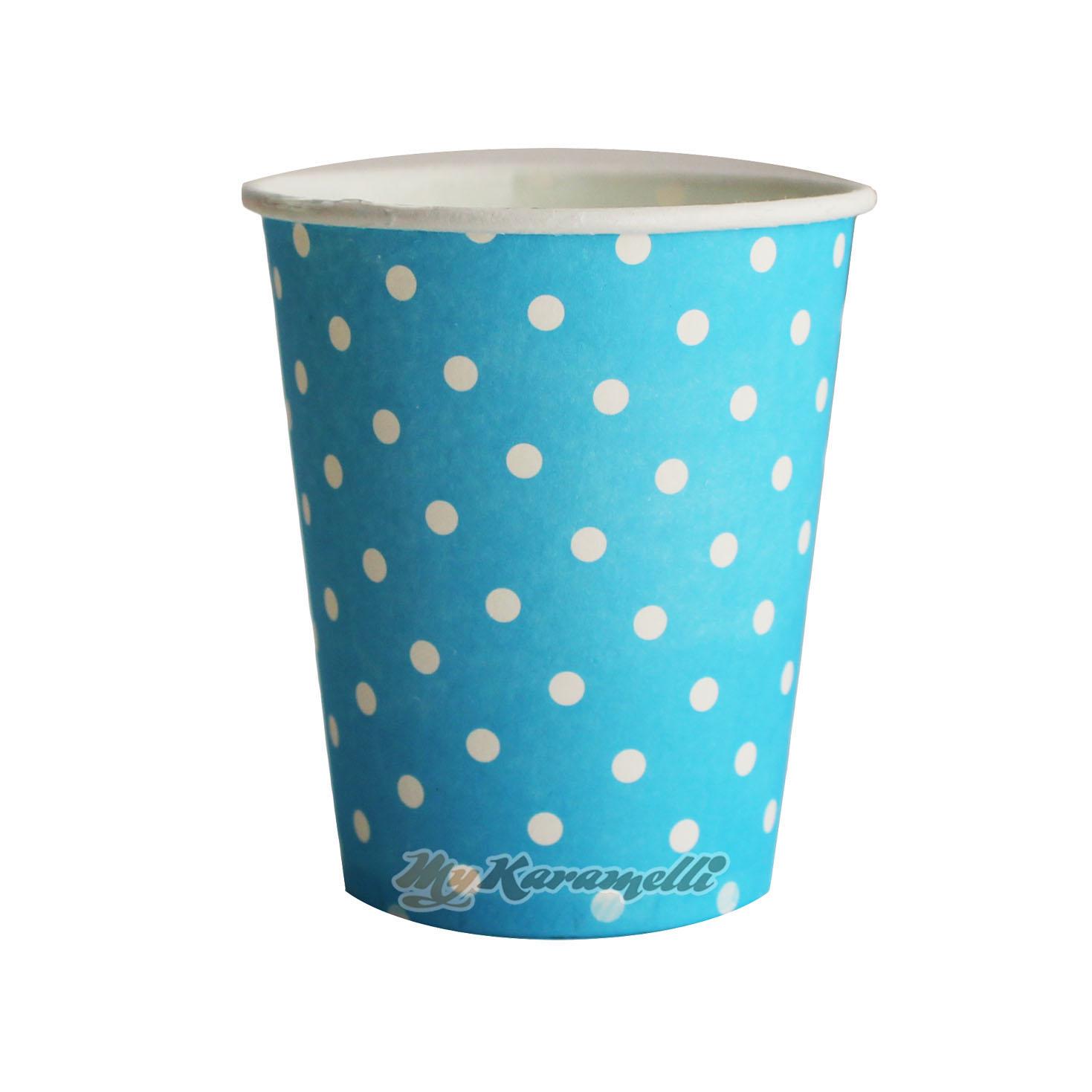 Juego de 10 vasos de Papel Blue Polkadot
