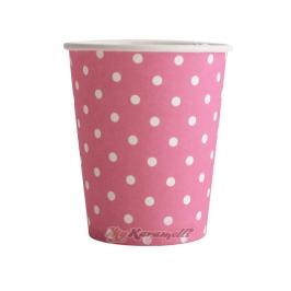 Juego de 10 vasos de Papel Hot Pink Polkadot