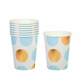Vasos Blancos con Lunares Azules y Dorados