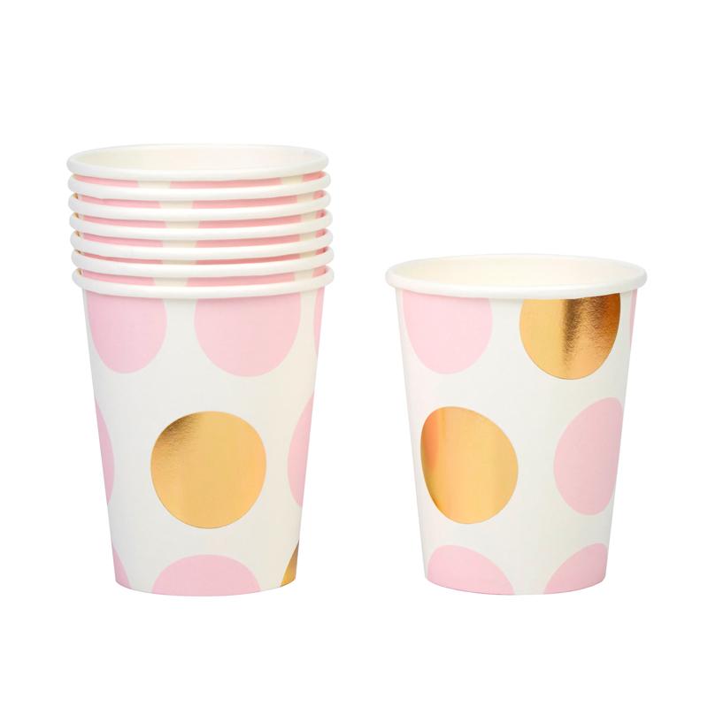 Vasos Blancos Con Lunares Rosas Y Dorados My Karamelli