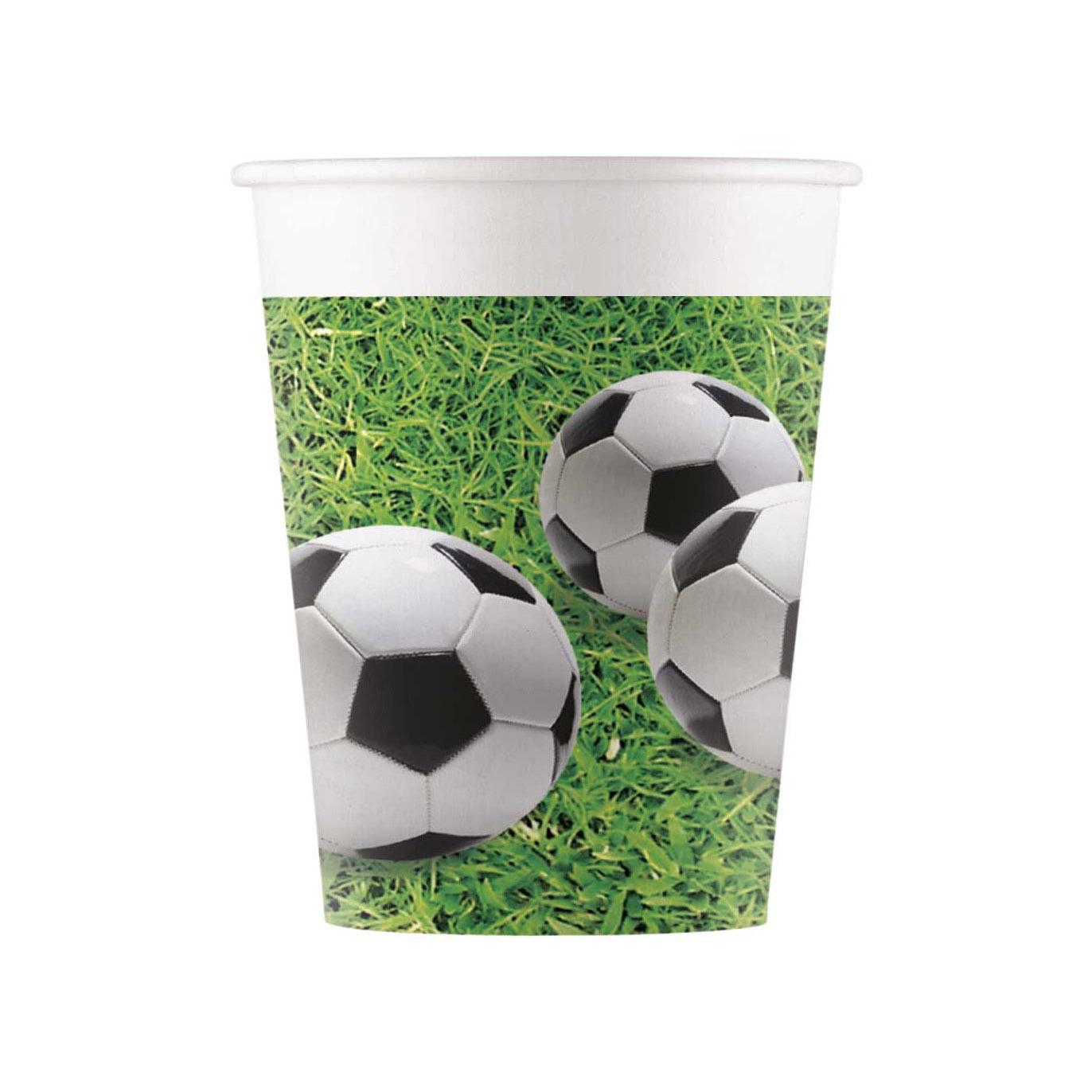 Juego de 8 Vasos de Papel Fútbol