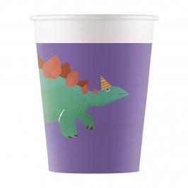 Vasos de Papel Compostables Dinosaurio Roar 200 ml 8 ud