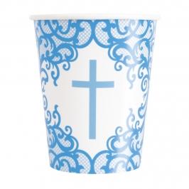 Vasos de Papel Comunión Azul 8 ud