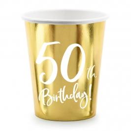 Vasos de Papel Dorados 50 Años 6 ud