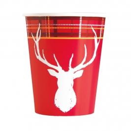 Vasos de Papel Reno Navidad 8 ud
