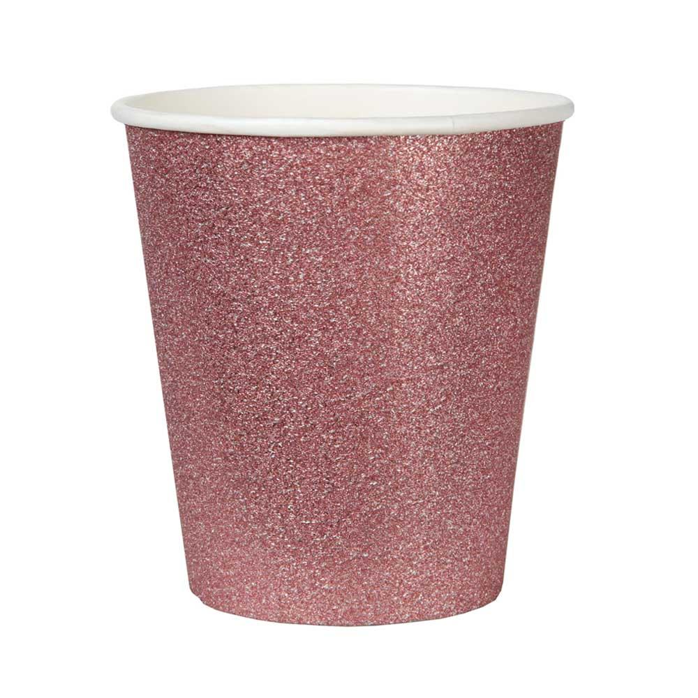 Vasos Oro Rosado con Purpurina 10 ud