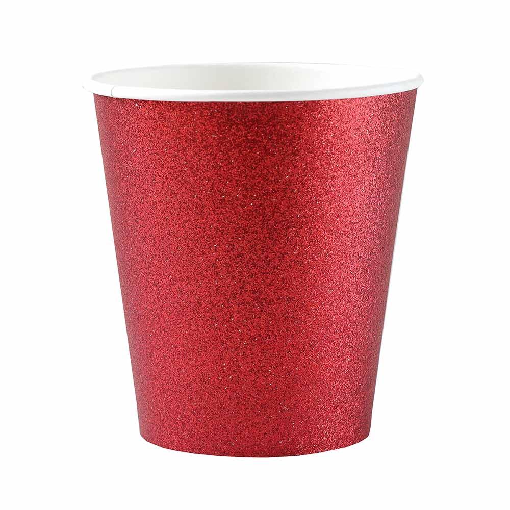 Vasos Rojos con Purpurina 10ud